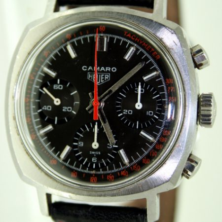 1960s Camaro Valjoux 72 Chronograph Ref. 7220NT Rare Black Dial with Red Outer Tachymetre