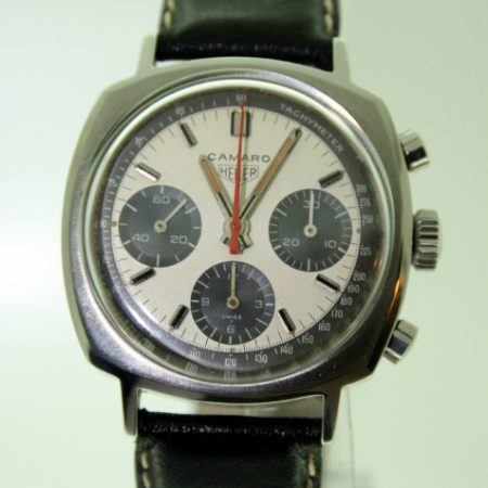 """1960s Camaro Valjoux 72 Chronograph with Rare Two-Tone  """"Panda"""" Dial on Big-Hole Rally Strap with Steel Signed Heuer Buckle. In Mint Condition."""