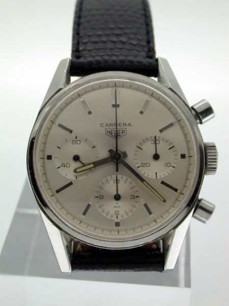 1960s Carrera 12 Three Dial Ref. 2447 with Perfect Original Dial. Mint Condition Screw-Back Case. Highly Collectible and Beautiful Watch