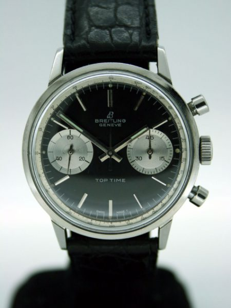1960s Geneve Top Time Chronograph in Perfect Mint Condition with Original Black Dial