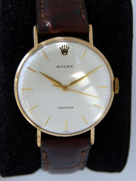 "1960s Rare Larger Sought-after ""Coin Edge"" Cased Solid 9ct Gold Precision Dress Wristwatch with Superb Orignal Dial Signed Rolex Precision Swiss Applied Logo"