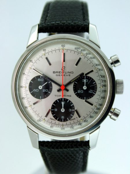 1960s Ref. 824 Top Time Chronograph Geneve Original Silver Dial with Three Black Sub-Dials and Orange Central Chrono Hand. Desirable Big 60s Watch in Mint Condition Like New