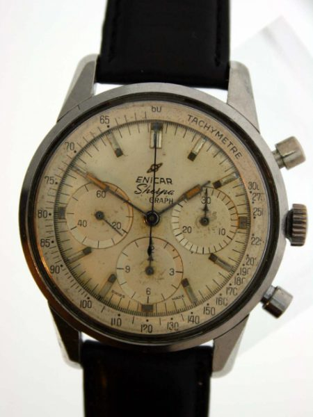 1960's Sherpa Graph Valjoux 72 Large Chronograph with All White Tachymetre Dial in All Steel Case with Sea-Pearl Logo Screw-Back Case New Black Leather Strap with Rare Enicar Signed Buckle