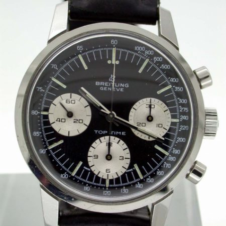1960's Top Time Geneve Chronograph. Original Black Dial with Three White Sub-Dials. Breitling Ref. 810. Superb Condition.