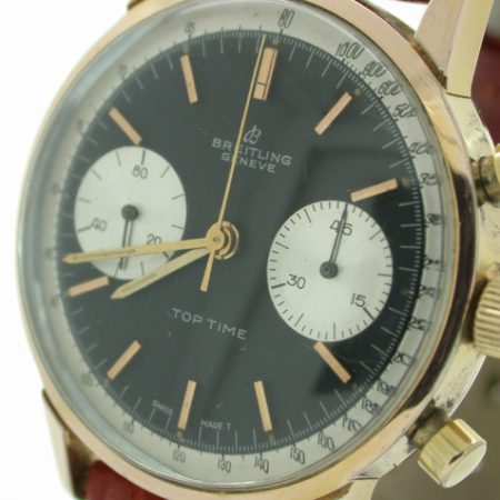 1960s Top Time Geneve with Mint Perfect Original Black Dial and Two Silver Sub-Dials in Gold/SS Round Case with Round Pushers with Original Signed Winding Crown Model Ref. 2000