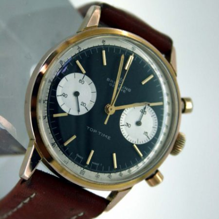 1960s Top Time Geneve with Mint Perfect Original Black Dial and Two Silver Sub-Dials in Rare Rose Gold/SS Round Case with Round Pushers with Original Signed Winding Crown Model Ref. 2000