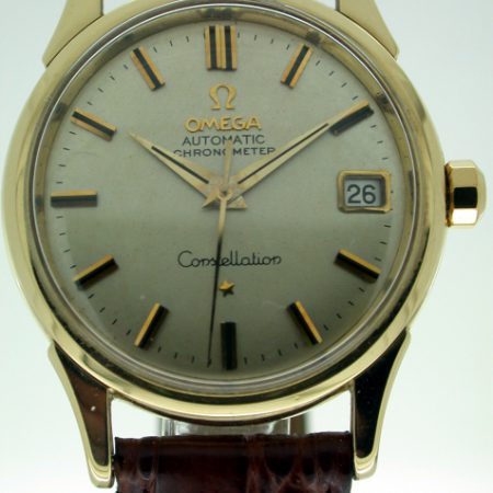 1961 18K Solid Yellow Gold Automatic Chronometer Constellation with Solid Gold and Onyx Hour Markers and Hands. Comes on Omega Strap and Buckle