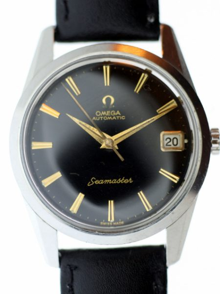 1961 Seamaster Automatic Calendar  Cal. 562 with Rare Orignal Gloss Black Dial in All Stainless Steel Seamonster Logo Case Omega Signed Crown and Omega Buckle