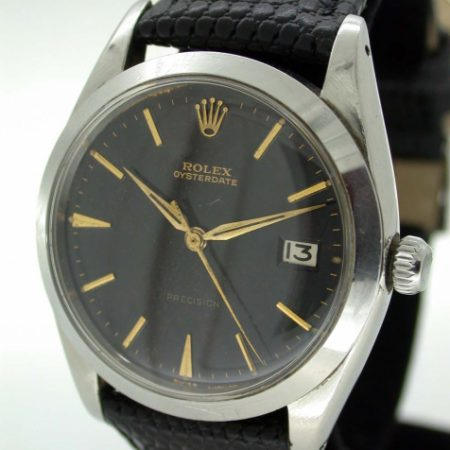 1961 Steel Oysterdate with All Original Black and Gilt Rolex Signed Dial with Early Dagger-Style Rolex Hands