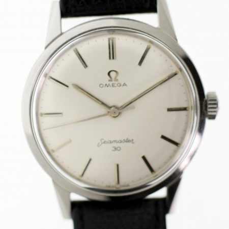 1962 Seamaster 30 in New Old Stock Condition with Mint White Dial Omega Signed Crown Seamonster Logo on Case-Back Omega Buckle. Beautiful Watch