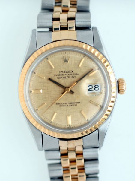 1964 Datejust Ref. 1601 Oyster Perpetual Superlative Chronometer Officially Certified with Rare Gold Tapestry Weave Original Finish Dial and 18K Gold Fluted Bezel