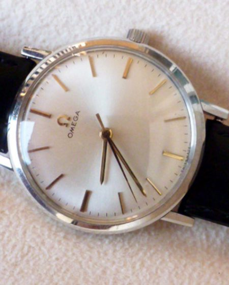 1964 New Old Stock Never Been Used Unworn Omega 600 with Pearl White Dial Beautiful As New Manual Winding Dress Watch on Vintage Omega Strap and Buckle