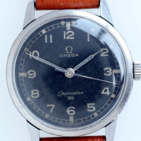 "1964 Rare RAF Seamaster 30 Military Watch with Original Black Military Dial and RAF Markings on all Steel ""Seamonster"" Case-Back Manual Winding"