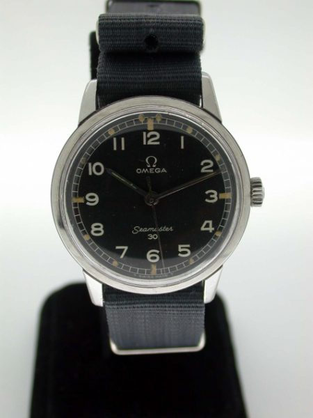 "1964 Seamaster 30 Military Watch with Original Black Dial and with Military Markings A/2243 in all Steel Omega ""Seamonster"" Case Ref. 135.007-64. Caliber 286 Manual Winding"