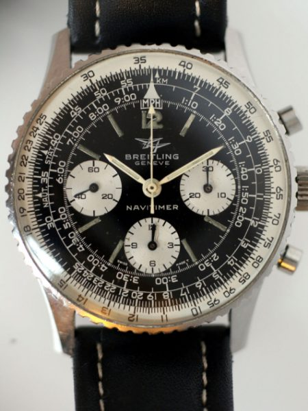 1965 James Bond Thunderball Navitimer Ref. 806 with Three Small White Sub-Dials in Stainless Steel Case with Breitling Venus Cal. 178 Movement and with Vintage Breitling Strap and Buckle