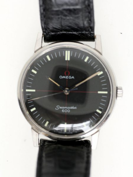 1965 Seamaster 600 with Rare Factory Original Black Dial with Red Cross-Hairs. Omega Seamonster Logo on Case-Back. Original Omega Signed Crown