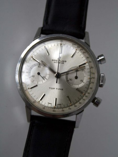 1965 Top Time Geneve Chronograph in Mint Condition with Original Silver Dial in All Stainless Steel Round with Round Pushers Case Model ref 2002 All Original Superb Example