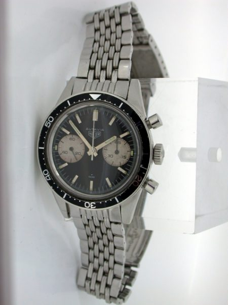 """1965 Vintage Autavia 45 on its Original Matching Gay Freres Beads of Rice Stainless Steel Heuer Bracelet with HL End Links Dated 1965. Rare Valjoux 92 Movement """"Mario Andretti"""" Autavia"""
