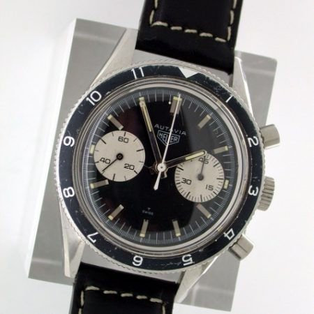 "1966 Autavia ""45"" (Valjoux 92) US Military Air Force Pilot's Watch. Comes in an Orignal 1960's Heuer Box with Strap and Heuer Signed Steel Buckle. Complete with Service Receipts for Tag Heuer Service"