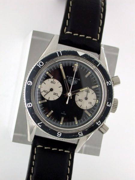 """1966 Autavia """"45"""" (Valjoux 92) US Military Air Force Pilot's Watch. Comes in an Orignal 1960's Heuer Box with Strap and Heuer Signed Steel Buckle. Complete with Service Receipts for Tag Heuer Service"""