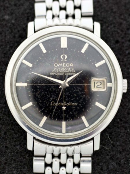 1966 Constellation Automatic Chronometer with Rare Original Black Dial with Cross-Hairs in Large All Stainless Ref. 168.004 Case on Beads of Rice Omega Steel Bracelet