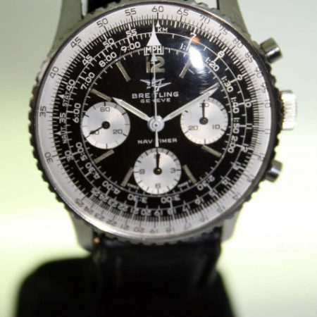 """1966 Navitimer Chronograph Ref. 806 with Mint Perfect Original """"Two-Planes"""" Logo Dial All Stainless Steel Case with Rotating Slide-Rule Bezel Comes on Vintage Breitling Strap and Matching Buckle."""