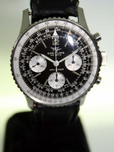 "1966 Navitimer Chronograph Ref. 806 with Mint Perfect Original ""Two-Planes"" Logo Dial All Stainless Steel Case with Rotating Slide-Rule Bezel Comes on Vintage Breitling Strap and Matching Buckle."