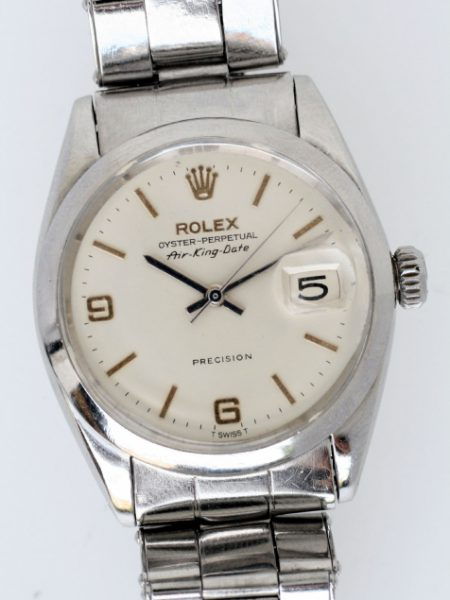 """1966 Rare Rolex Air King Date Precision Model Ref. 5700 with Rare """"Explorer"""" Dial in Absolutely Mint Condition with Original Rolex Stainless Steel Rivited Bracelet. Wow!"""