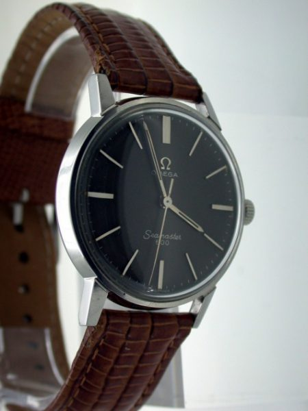 1966 Seamaster 600 with Rare Cross-Hatched Charcoal Grey Dial with Silver Baton Hour Markers. Seamonster Logo Back. Super Condition.
