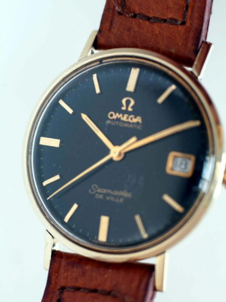 """1967 Automatic Seamaster De Ville Date Calendar """"Mad Men"""" Watch Original Gloss Black Dial with Gold Hour Markers and Hands Monocoque 14k Gold Capped Case"""