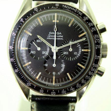 1967 Pre-Moon 321 Speedmaster Professional Ref. 145.012-67 SP. All Original 1967 Moonwatch. Jet Black Stepped Dial with Applied Metal Omega Logo 1967 Omega Bezel Original Speedmaster Box
