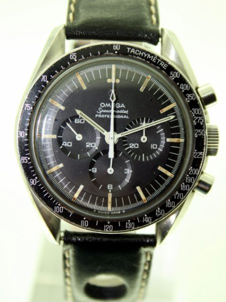1967 Pre-Moon 321 Speedmaster Professional Ref. 145.012-67 SP. All Original 1967 Moonwatch. Jet Black Stepped Dial with Applied Metal Omega Logo 1967 Omega Bezel Original Speedmaster Box
