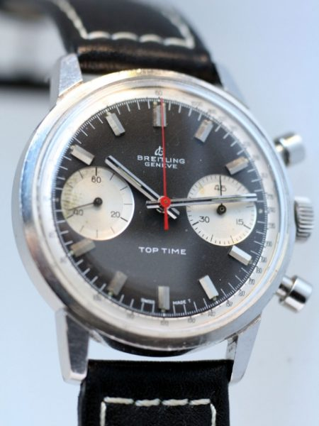 """1967 Top Time Geneve Chronograph Ref. 2002 Original Black and White """"Panda"""" Dial with Original Red Central Chronograph Hand. Attractive Watch"""