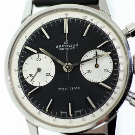 """1967 Top Time Geneve """"Panda Dial"""" with Perfect Original Jet Black Dial and Two Silver Sub-Dials Ref. 2002 in Round Stainless Steel Case with Round Pushers Signed Breitling Crown"""