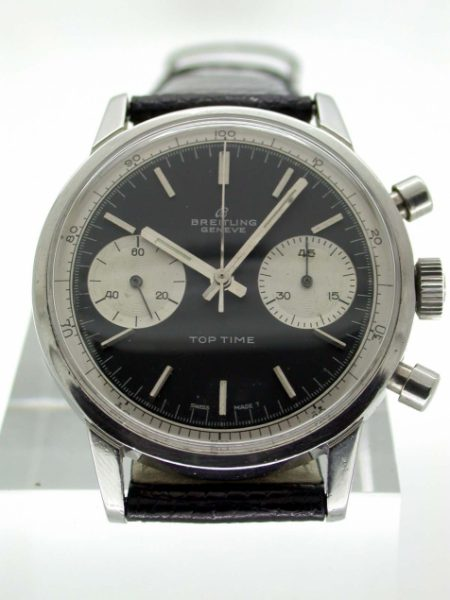1968 Top Time Geneve Chronograph Black Dial with Two White Sub Dial Registers. Excellent Condition with Original Papers