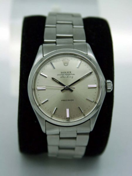 1969 Air King Oyster Perpetual Precision Beautiful Silver Dial All Stainless Steel Case on Rolex Oyster Stainless Steel Bracelet. Perfect Original Condition 1960's Rolex Automatic Watch