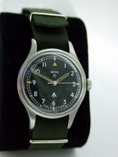 1969 British Military Wristwatch Issued to the Army with Stop Seconds Hacking Feature  and Broadarrow on Dial and Military Markings on Case-Back in Superb Condition.