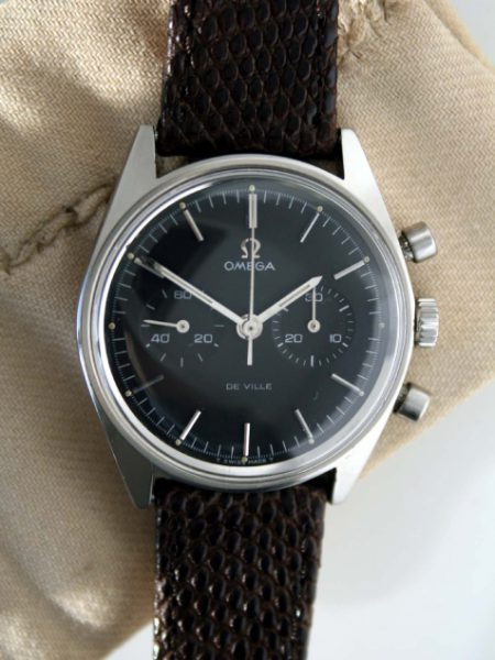 1969 Omega De Ville ManualChrongraph Cal. 860 with Original All Jet Black Original Dial in Stainless Steel Screwback Case Ref. 145.017 Signed Omega Waterproof in Mint Condition on Lizard Strap