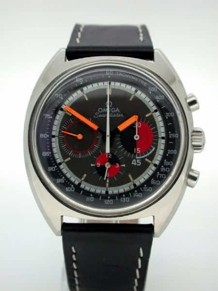 1969 Rare Cal. 861 Seamaster 'Soccer Timer' Chronograph with Black/Red Tachymetre Dial and Orange Hands in Big Tonneau All Steel Case All in Perfect Original Condition. Reference 145.020.