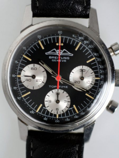 1969 Top Time AOPA Geneve Three Register Chronograph Black Dial with Red Central Chrono Hand Ref. 810 in All Steel Case on Breitling Strap and Buckle