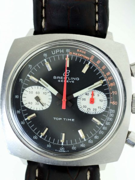 1969 Top Time Geneve Chronograph Ref 2211 with Black and Orange Original Dial in all Stainless Steel Screw-Back Case on Vintage Breitling Strap and Buckle