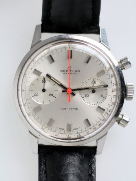 1969 Top Time Geneve Two Register Silver Dial with Red Hand Chronograph Ref. 2002-33 in All Stainless Steel Case with Breitling Signed Crown