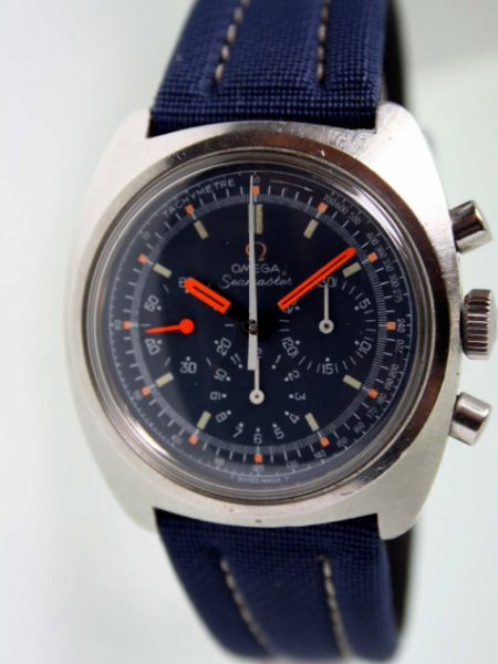 1970 Cal. 861 Seamaster Chronograph with Stunning Mint Condition Original Blue Dial and Orange Hands. All original. Big All Steel Case Reference 145.0290. On Matching New Blue Strap