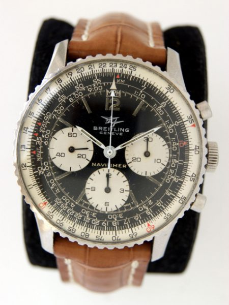 """1970 """"Jim Clark"""" Navitimer Ref. 806 Original Black Dial with Three Small White Sub-Dials in Stainless Steel Case with Breitling Venus Cal. 178 Movement and on Breitling Strap and Buckle"""