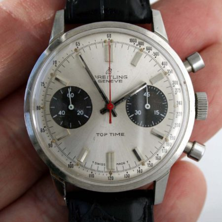 1970 Top Time Geneve Model 2002-33 with Rare Panda Dial with Two Black Sub-Dials and Red Central Chronograph Hand in Chromed Case with Round Pushers