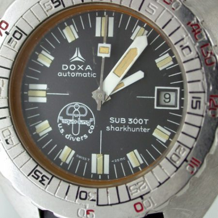 "1970s Legendary Sub 300T Sharkhunter Automatic Professional Diver's Watch as worn by Jaques Cousteau. Hard to Find Black  ""US Divers Co"" Aqualung Logo Dial. On Brand New Doxa Rubber Diver's Strap"