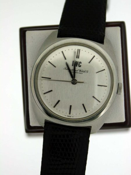 1971 New Old Stock Never Been Worn IWC Chronometer with All Stainless Steel Case with Original Shop Sticker on Case-Back on Lizard Skin Strap Beautiful Unused Vintage IWC Watch