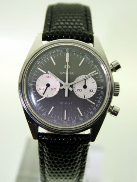 1971 Steel Chronograph De Ville Manual Winding Original Rare Charcoal Black Dial with Two White Sub-Dials One with Red Numbers. Original Steel Omega Buckle. Bought From Original Owner