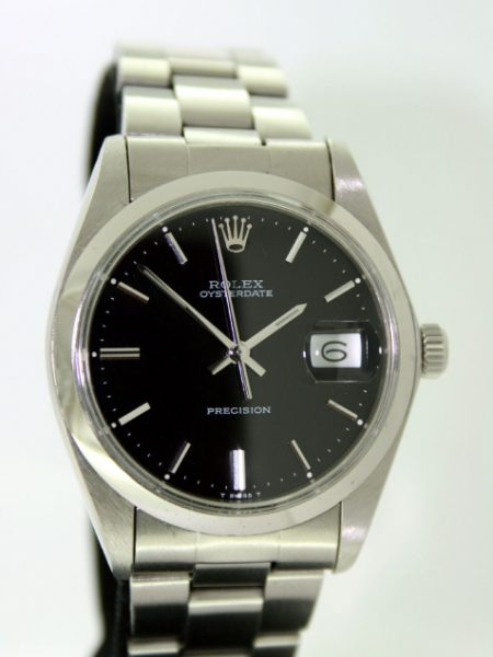 1972 Oysterdate Precision ref. 6694 Original Black and Silver Dial All Stainless Steel Case Stamped Rolex 1972 Original Rolex Steel Oyster Bracelet Stamped 1972 All in Mint Condition