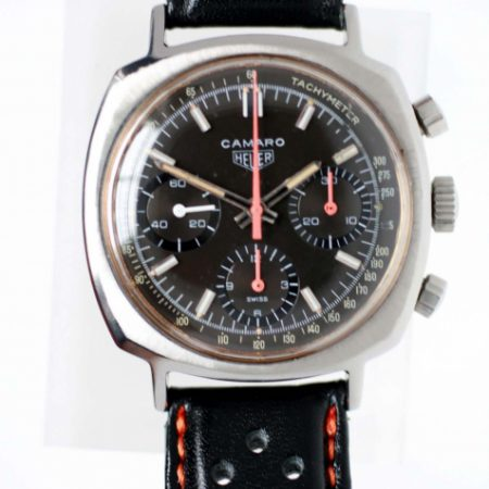 1973 Camaro Chronograph Desirable Black and Red Tachymeter Dial All Steel Screw-Back Case Heuer Signed Crown Padded Rally Strap with Heuer Buckle